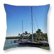 Sailboat At Royal Harbor Throw Pillow