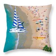Sailboat At Waikiki Throw Pillow