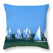 Sailboat Championship Racing 1 Throw Pillow