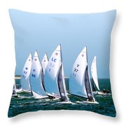 Sailboat Championship Regatta Throw Pillow