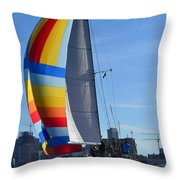 Sailboat In Seattle Throw Pillow