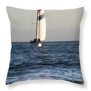 Sailboat Coming Ashore 1 Throw Pillow