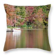 Sailboat In A Lake Throw Pillow