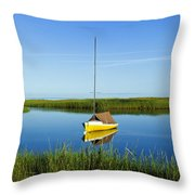 Sailboat In Cape Cod Bay Throw Pillow