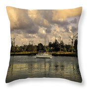 Sailboat In Georgetown Throw Pillow