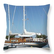 Sailboat In Harbor Summer Vacation Scene Throw Pillow