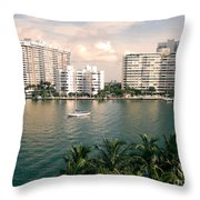 Sailboat In Miami Beach Florida Throw Pillow