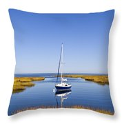 Sailboat In Salt Marsh Throw Pillow