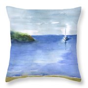 Sailboat In Still Waters Throw Pillow
