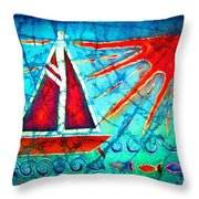 Sailboat In The Sun Throw Pillow