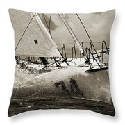 Sailboat Le Pingouin Open 60 Sepia Throw Pillow by Dustin K Ryan