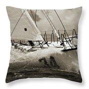 Sailboat Le Pingouin Open 60 Sepia Throw Pillow by Dustin K Ryan