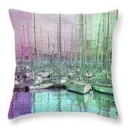 Sailboat Lineup - Watercolor Throw Pillow