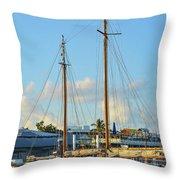 Sailboat, Mast, And Sails Throw Pillow