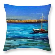 Sailboat Off Karpathos Greece Greek Islands Sailing Throw Pillow