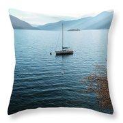Sailboat On Lake Maggiore Throw Pillow