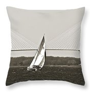 Sailboat Sailing Cooper River Bridge Charleston Sc Throw Pillow by Dustin K Ryan