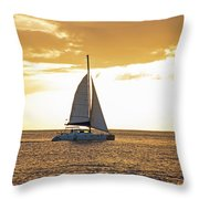 Sailboat Sailing Off Of Anse Chastanet At Sunset Saint Lucia Caribbean  Throw Pillow