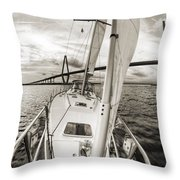 Sailboat Sailing Past Arthur Ravenel Jr Bridge Charleston Sc Throw Pillow