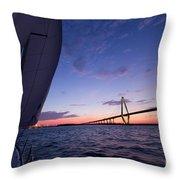 Sailboat Sailing Sunset On The Charleston Harbor  Throw Pillow by Dustin K Ryan