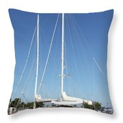 Sailboat Summer Vacation Scene Throw Pillow