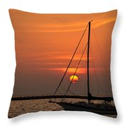 Sailboat Sunrise Chicago Throw Pillow