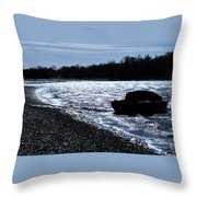 Sailboat Washes Up On Sandbar Throw Pillow