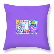 Sailboat With Sun Throw Pillow