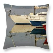 Sailboats And Reflections Throw Pillow