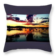 Sailboats And Sunset Sky In Hingham, Ma Throw Pillow