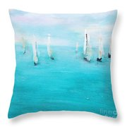 Sailboats  Throw Pillow by Chaline Ouellet