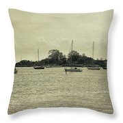 Sailboats In Gloucester Harbor Throw Pillow