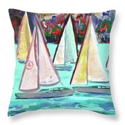 Sailboats In Spain I Throw Pillow by Kristen Abrahamson