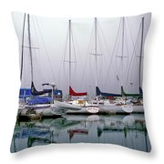 Sailboats In The Fog Throw Pillow