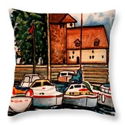 Sailboats In The Harbor Throw Pillow