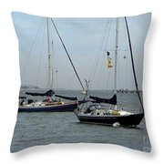 Sailboats In The Inlet Throw Pillow