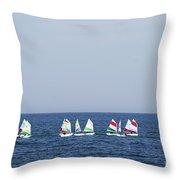 Sailboats In The Mediterranean Sea  Throw Pillow