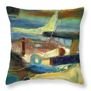 Sailboats Moored Throw Pillow