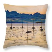 Sailboats Moored Clouds Front Ocean Sea Lake Throw Pillow