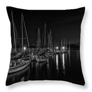 Sailboats Moored For The Evenin Throw Pillow