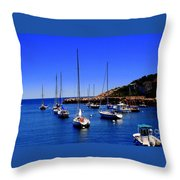 Sailboats Moored In Rockport Harbour. Throw Pillow