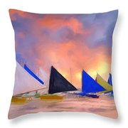 Sailboats On Boracay Island Throw Pillow