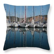 Sailboats Reflected Throw Pillow