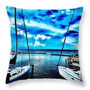 Sailboats Watching Weather Throw Pillow