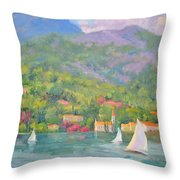 Sailing - Lake Como Throw Pillow