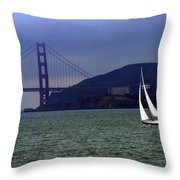 Sailing And The Golden Gate  Throw Pillow