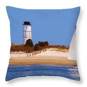 Sailing Around Sandy Neck Lighthouse Throw Pillow