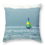 Sailing At La Playa Throw Pillow