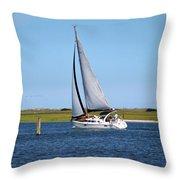 Sailing At Masonboro Island Throw Pillow