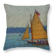 Sailing At Spruce Point Boothbay Harbor Maine Throw Pillow
